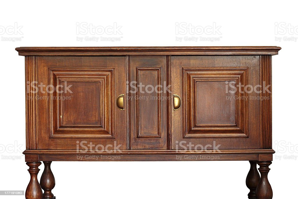 ancient wooden furniture over white stock photo