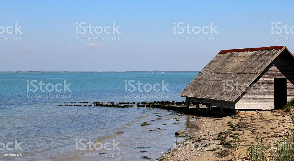 ancient wooden house of fishermen stock photo