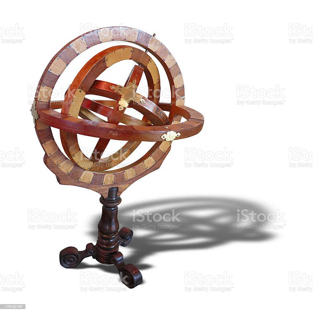 Astrolábio medição de madeira antiga Isolada foto de stock royalty-free