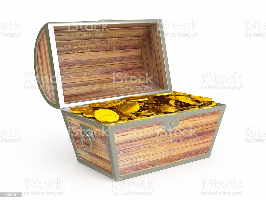 Ancient wooden treasure chest stock photo
