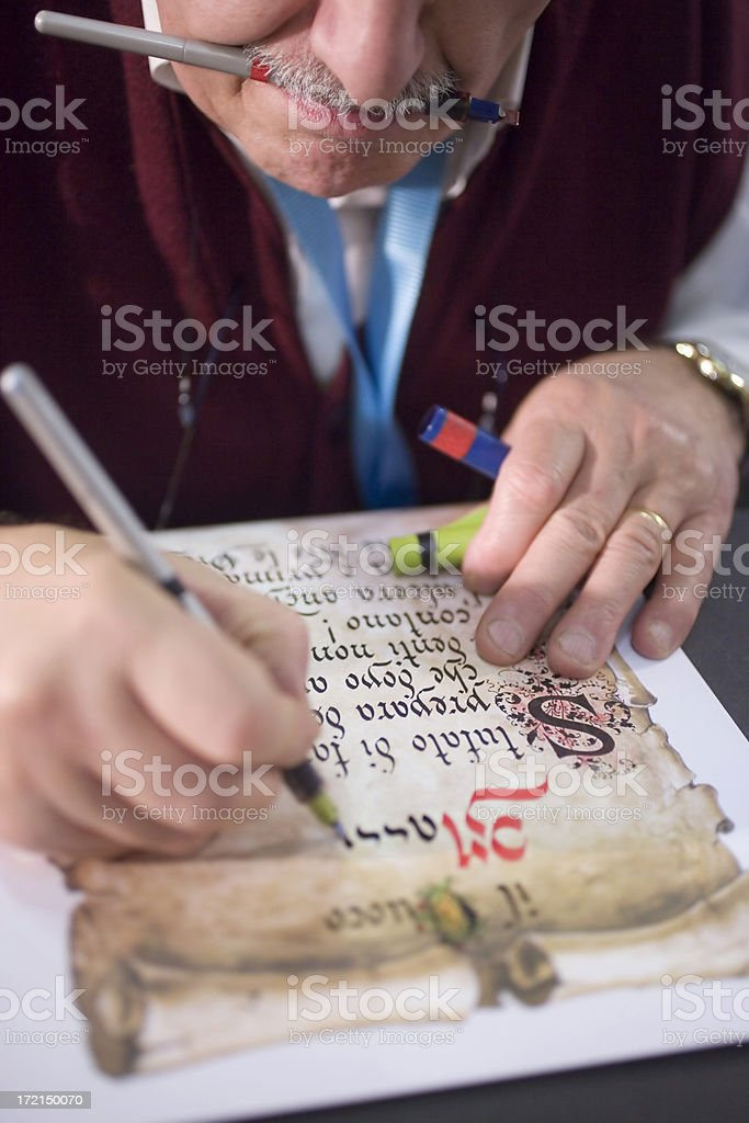 Ancient writing style stock photo