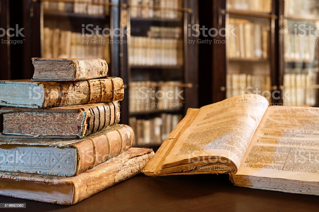 Ancients Books Of The 14th Century In Library stock photo