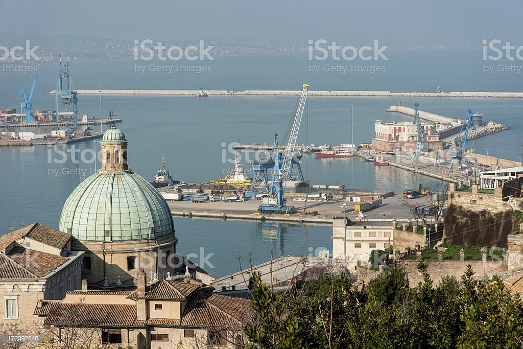 Ancona: SS. Pellegrini Cupola with Harbor in background royalty-free stock photo