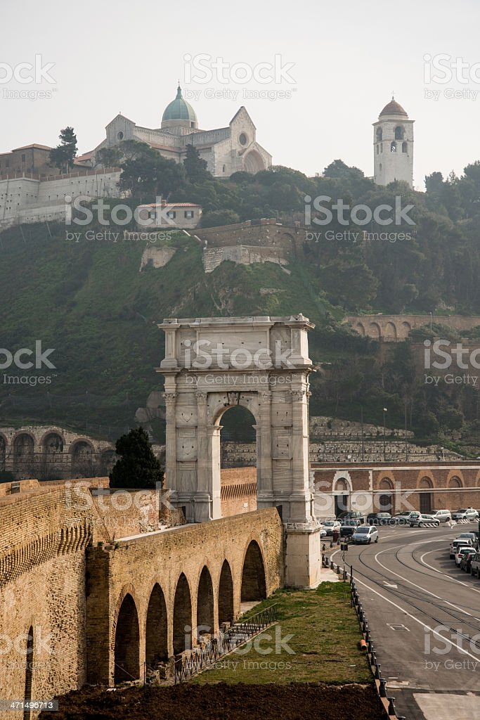 Ancona: Trajan's Arch and Cathedral stock photo