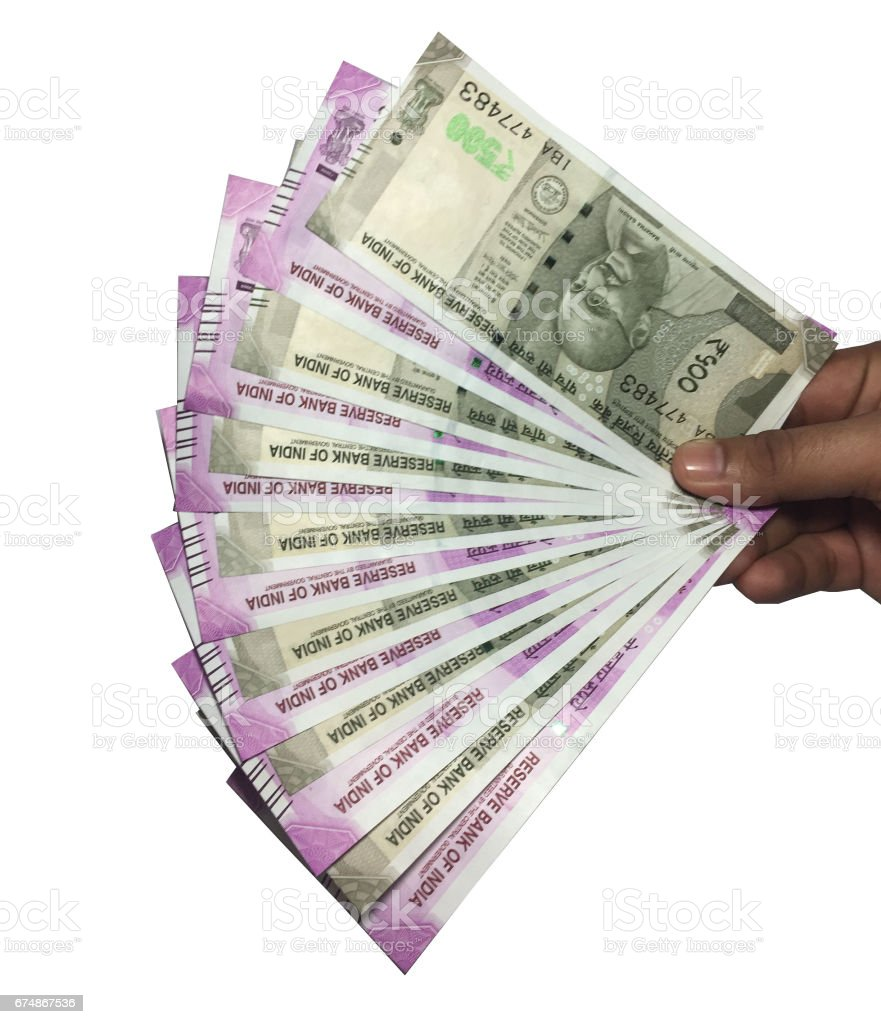500 and 2000 Indian Currency stock photo