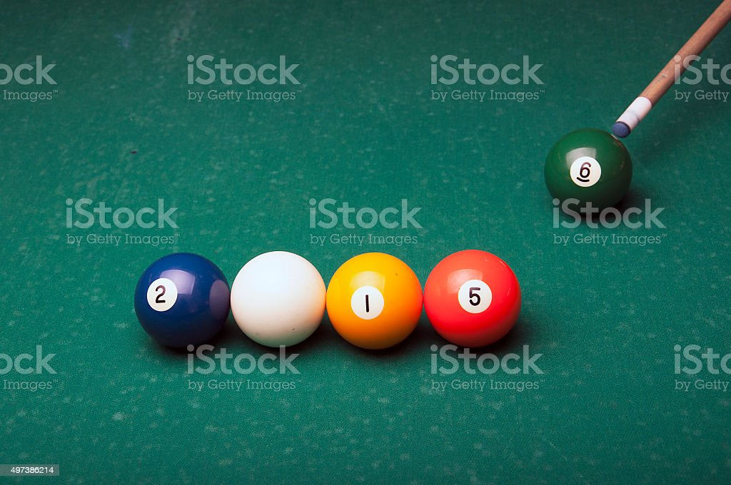 2015 and 2016 with pool balls symbolizes stock photo