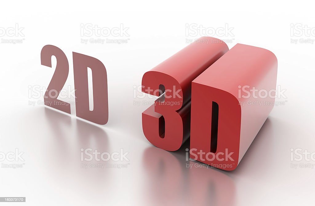 2D and 3D: concept illustrated (isolated on white) royalty-free stock photo
