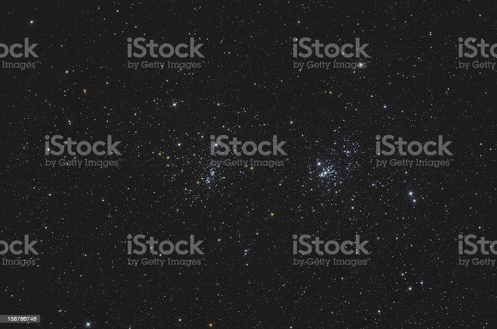 NGC 869 and 884 Double Open Cluster in Perseus stock photo