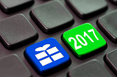 2017 and a gift icon written on a computer keyboard