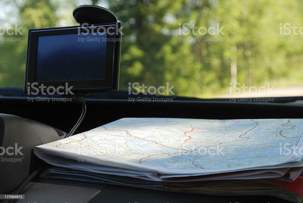 GPS and a road map on the front panel. royalty-free stock photo