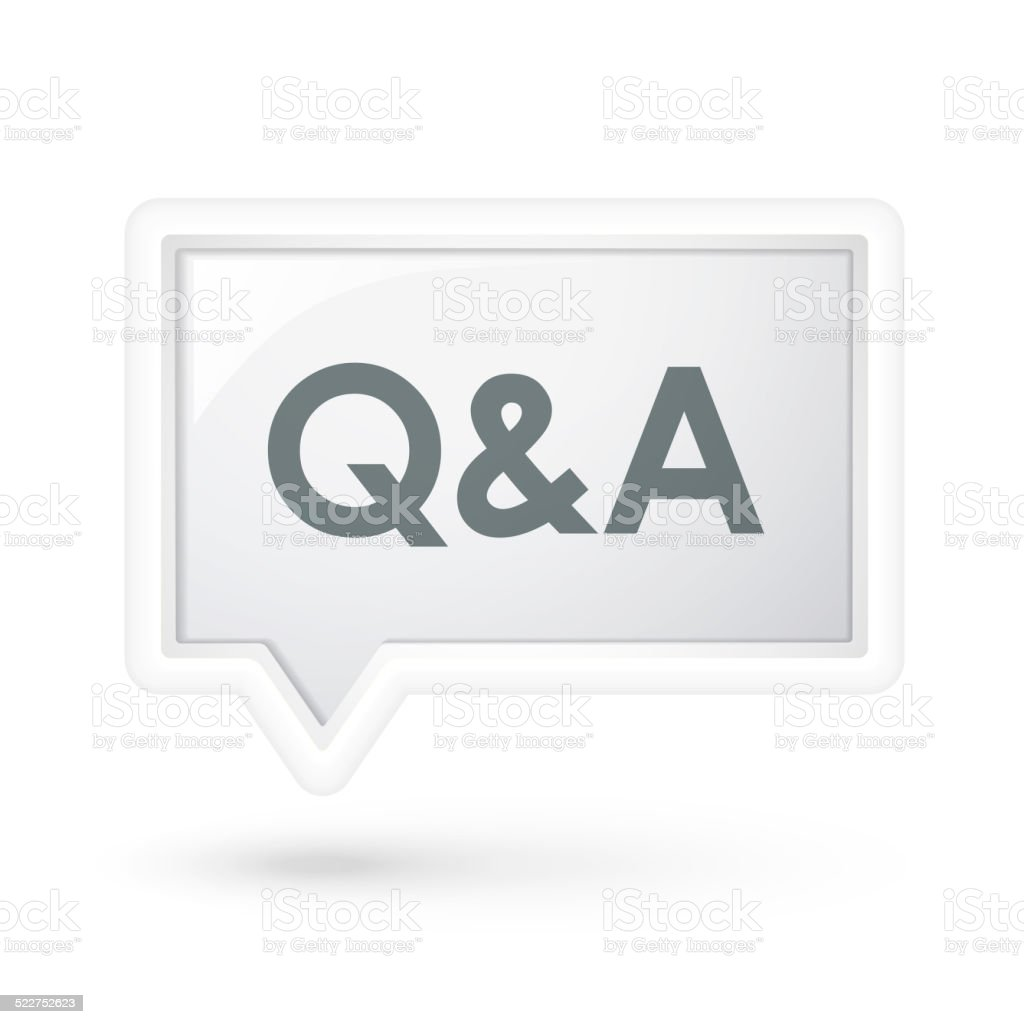 Q and A words on a speech bubble stock photo