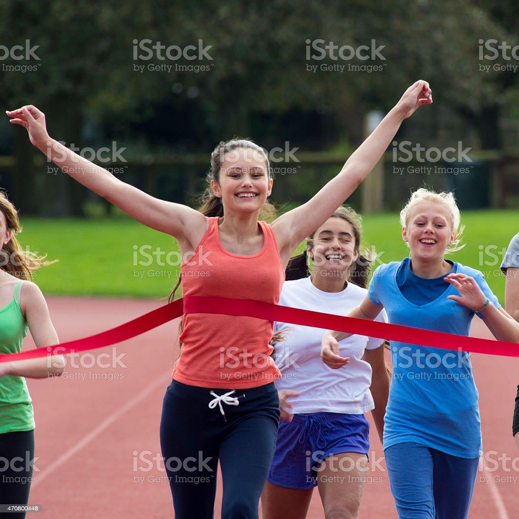 ...and across the line! stock photo