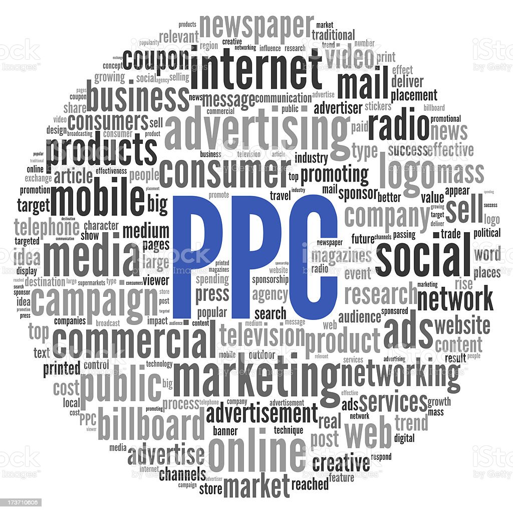 PPC and advertising concept in word tag cloud royalty-free stock photo