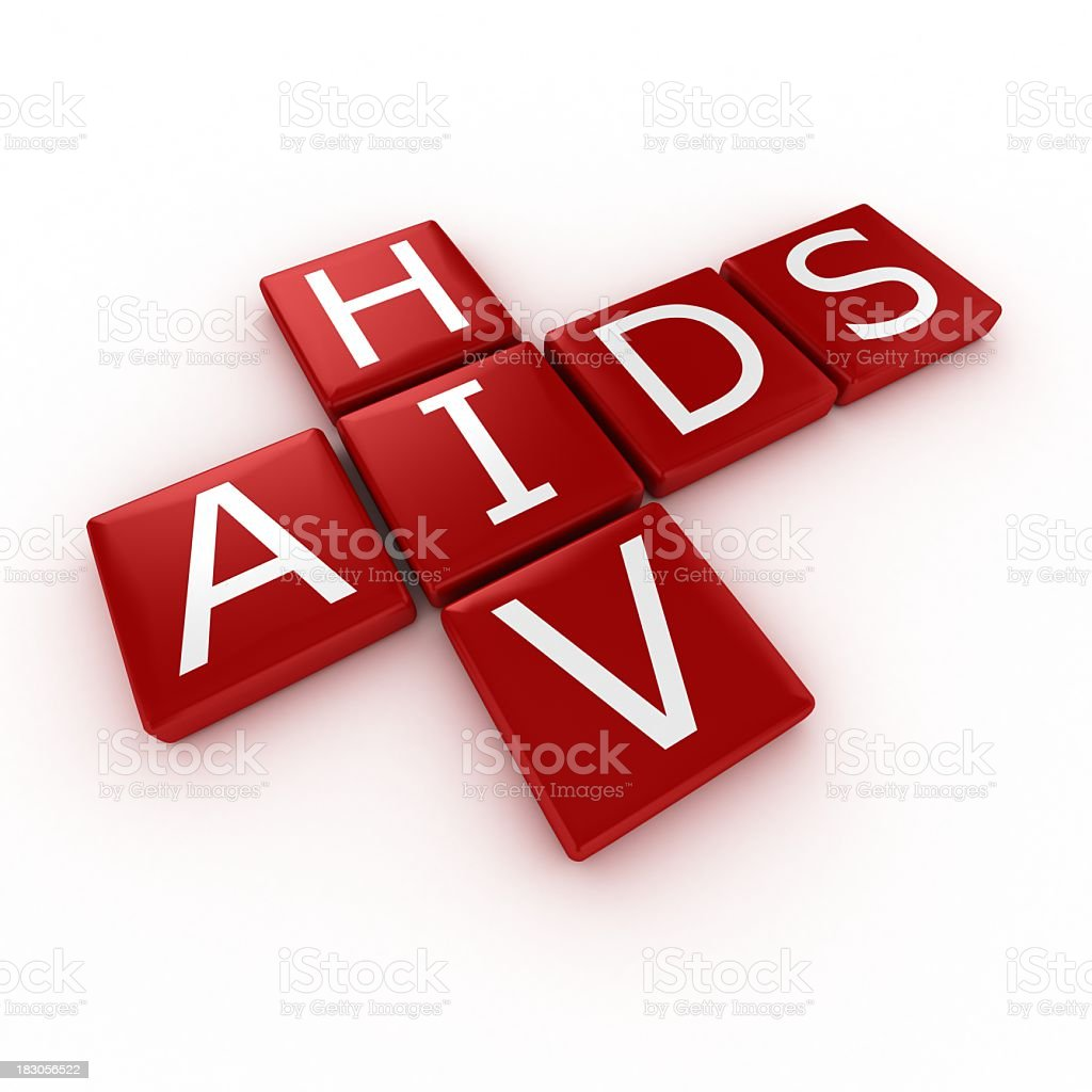 HIV and AIDS spelled out in red blocks stock photo
