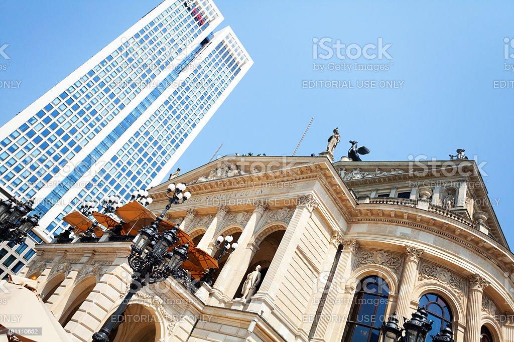 UBS and Alte Oper Frankfurt stock photo