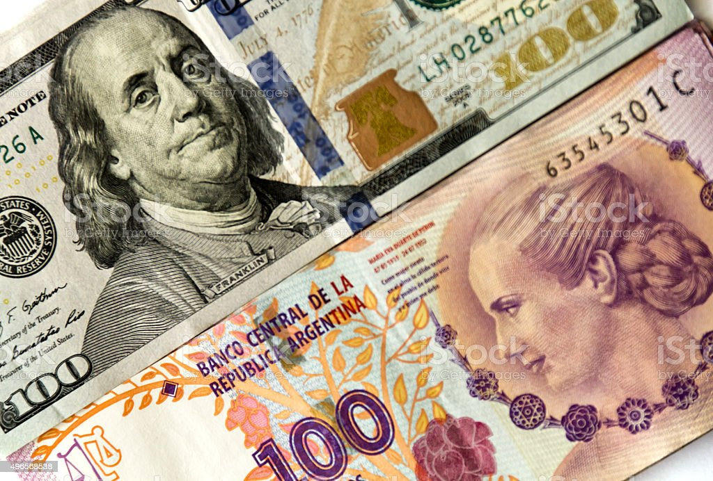 US and Argentinian banknotes stock photo
