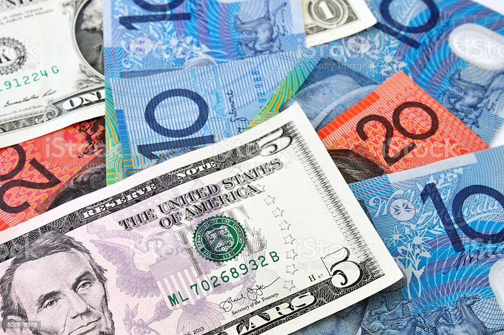 USA and Australian Dollar stock photo