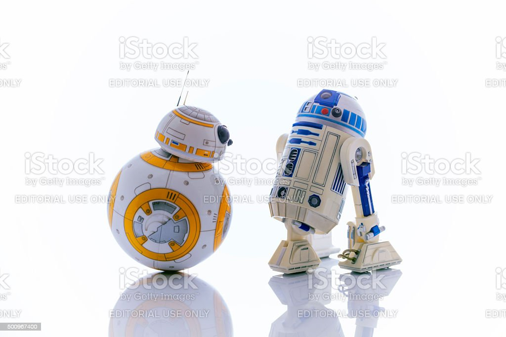 R2-D2 and BB-8 stock photo