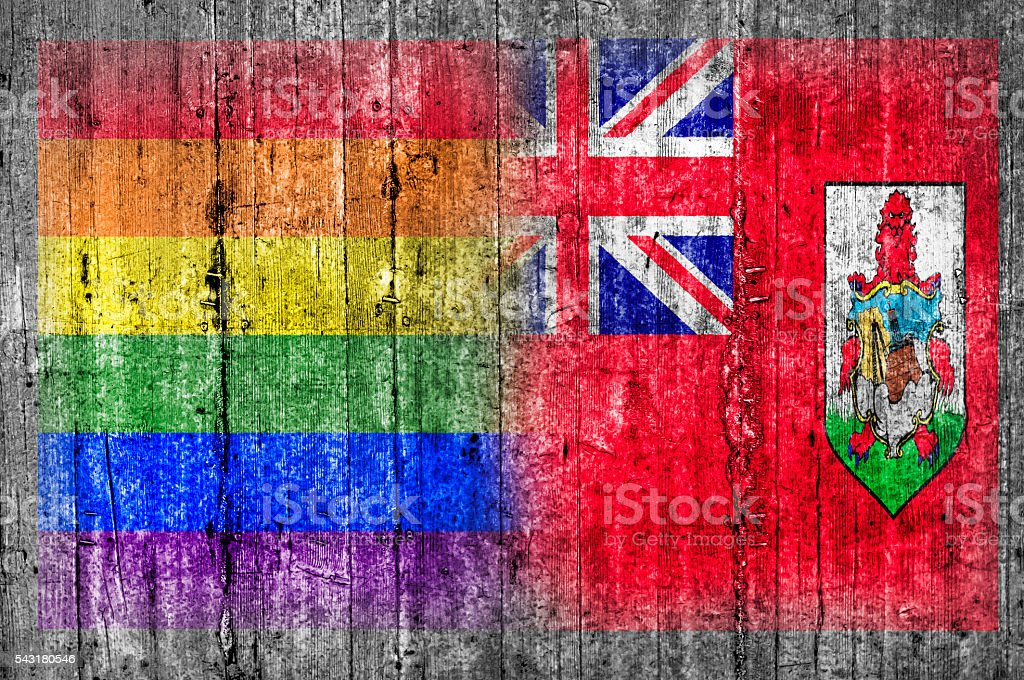 LGBT and Bermuda flag on concrete wall stock photo