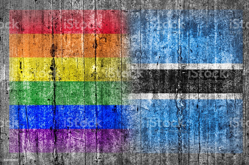LGBT and Botswana flag on concrete wall stock photo