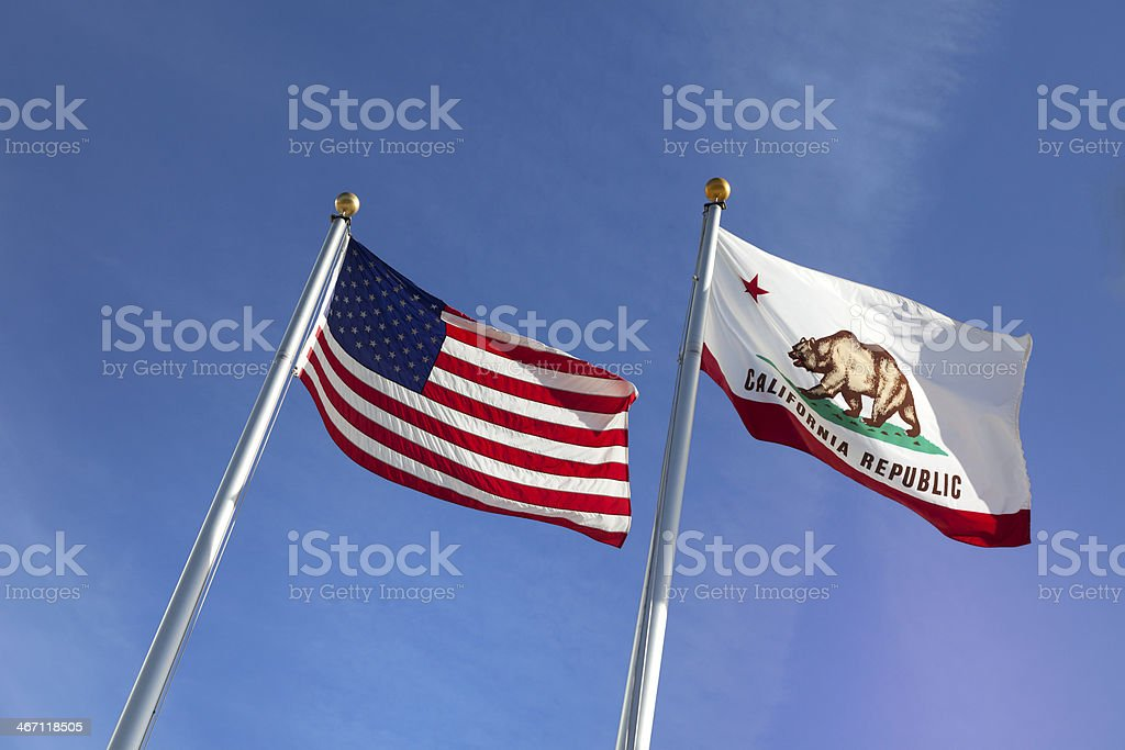 US and california state flags stock photo
