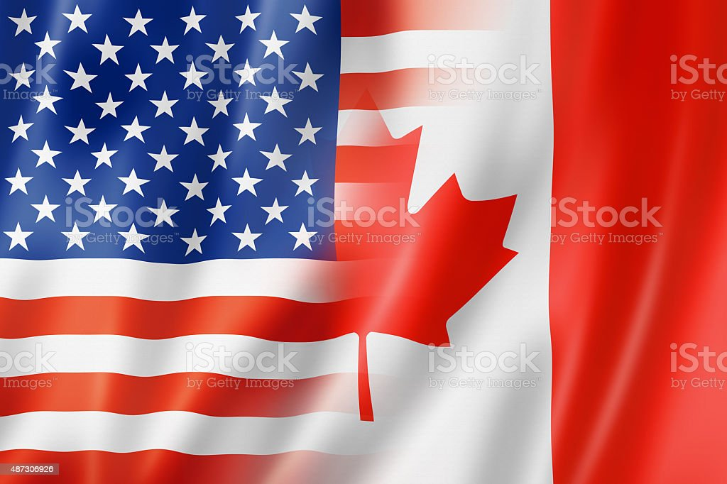 USA and Canada flag stock photo