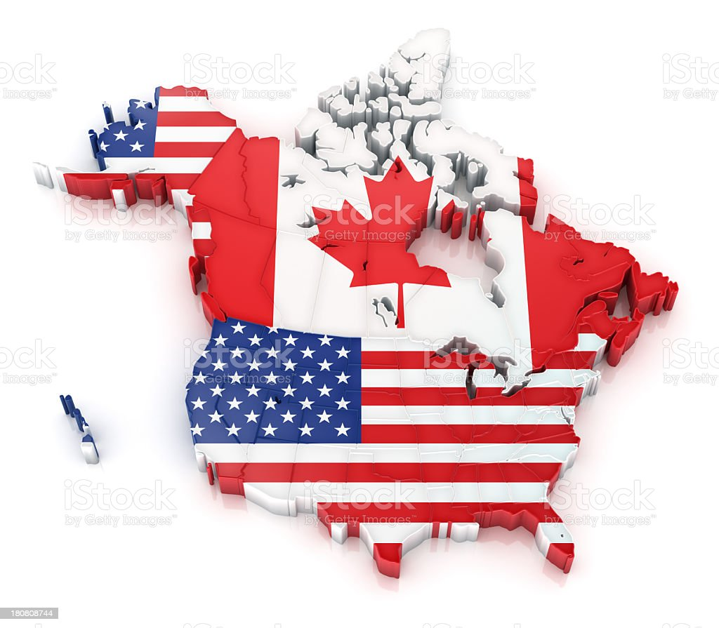 USA and Canada map with flags stock photo