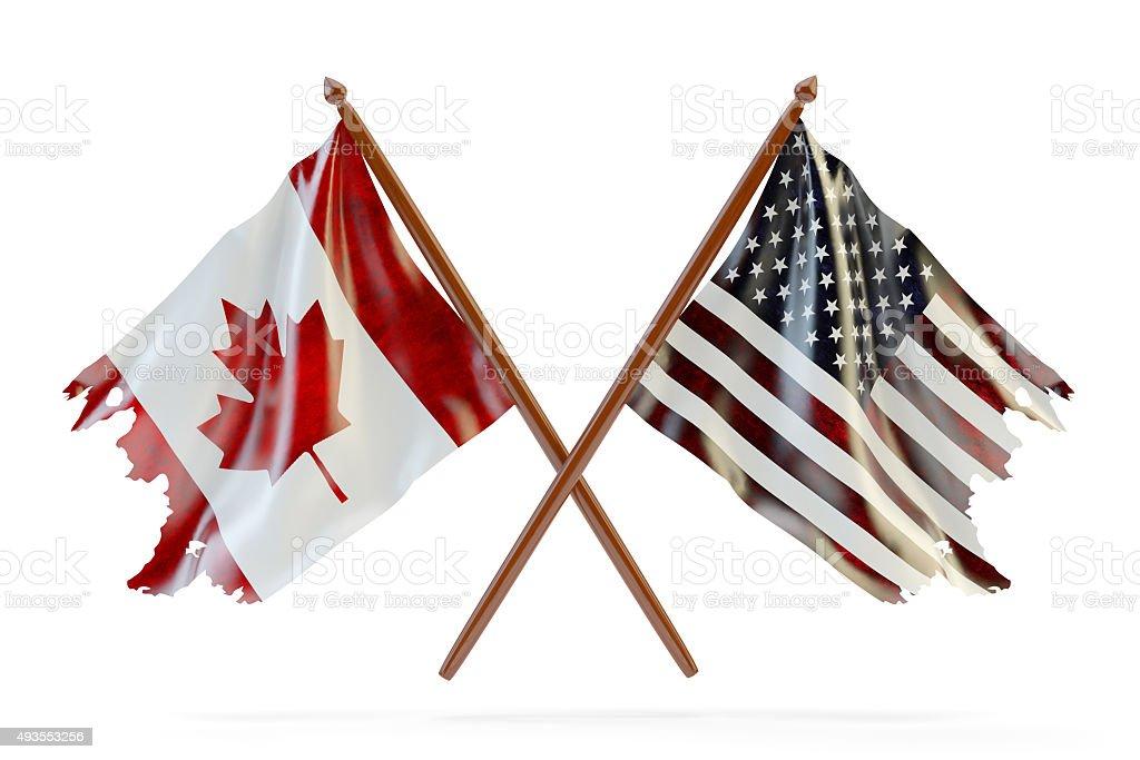 USA and Canada partnership concept stock photo