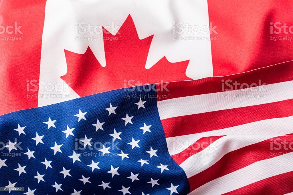 USA and Canada. USA flag and Canada flag stock photo