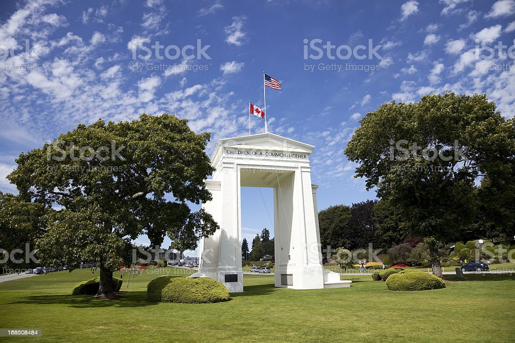 US and Canadian Border royalty-free stock photo