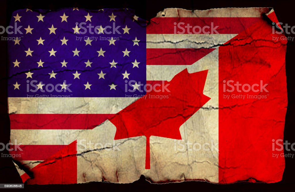 USA and Canadian flag stock photo