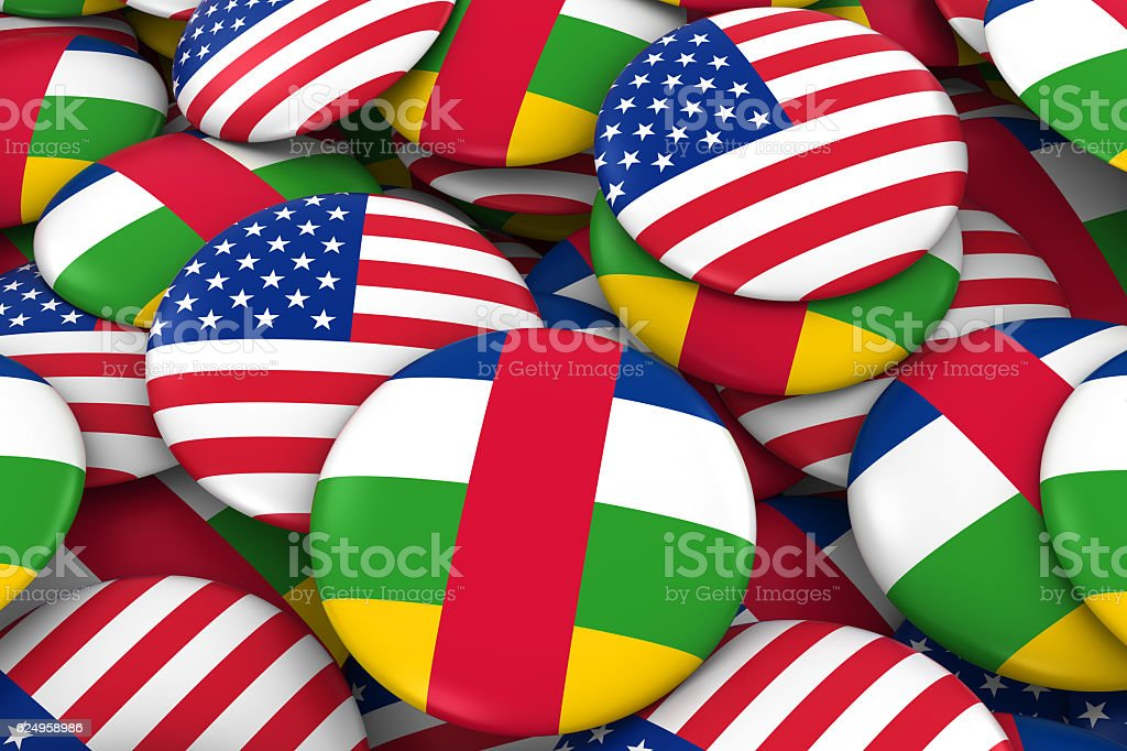 USA and Central African Republic Flag Badges Background stock photo