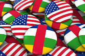 USA and Central African Republic Flag Badges Background
