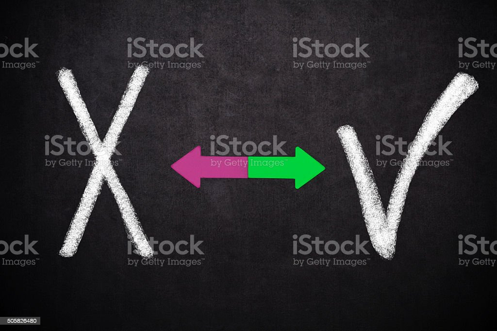 X and  check mark stock photo