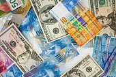 USD and CHF banknotes as background