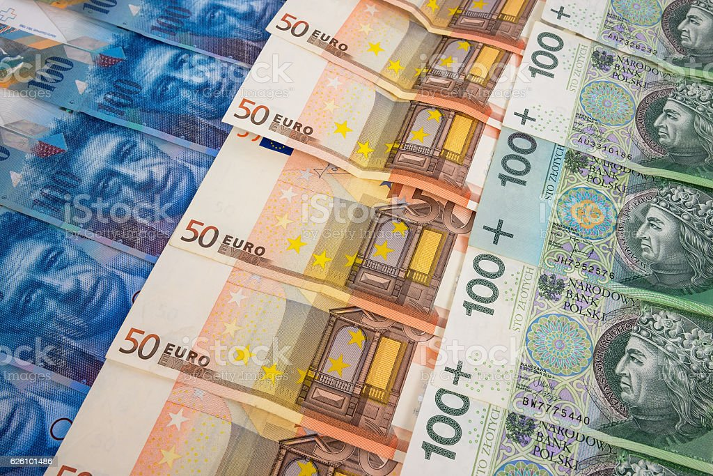 PLN EURO and CHF banknotes stock photo