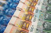 PLN EURO and CHF banknotes