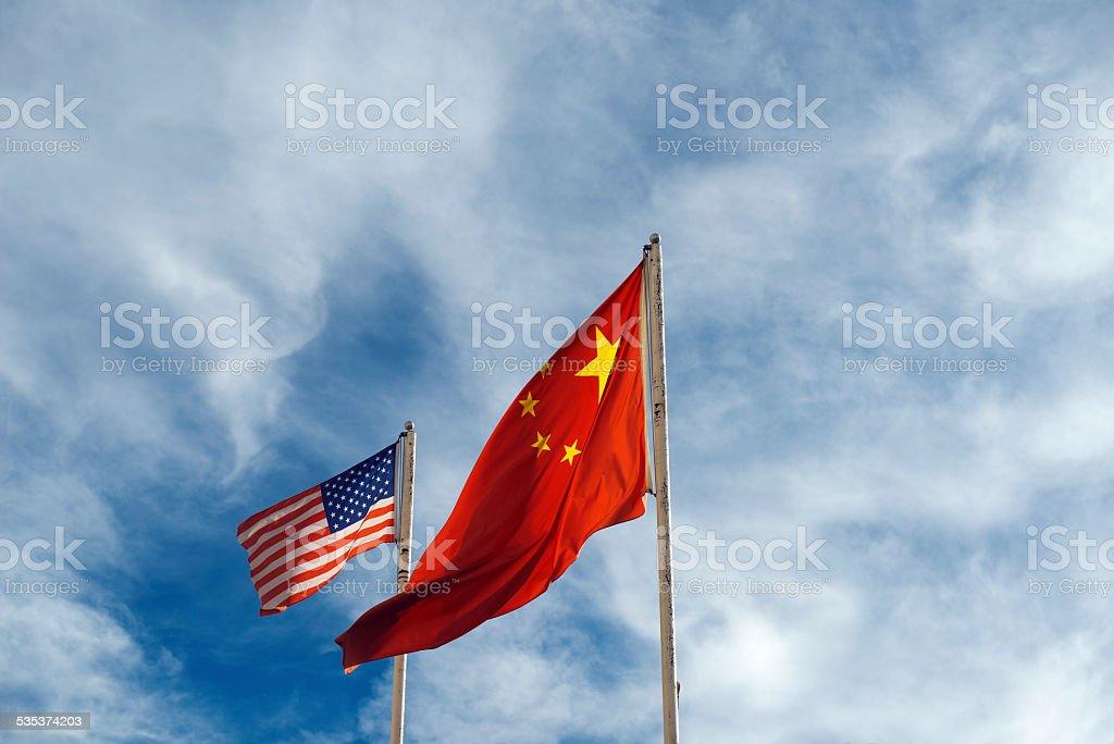 USA and China Flag stock photo