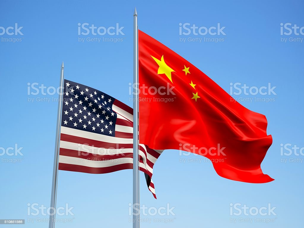 USA and China flags. 3d illustration stock photo