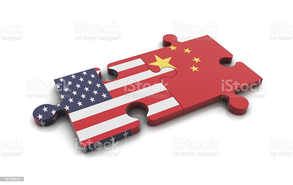 USA and China Flags on Puzzle royalty-free stock photo