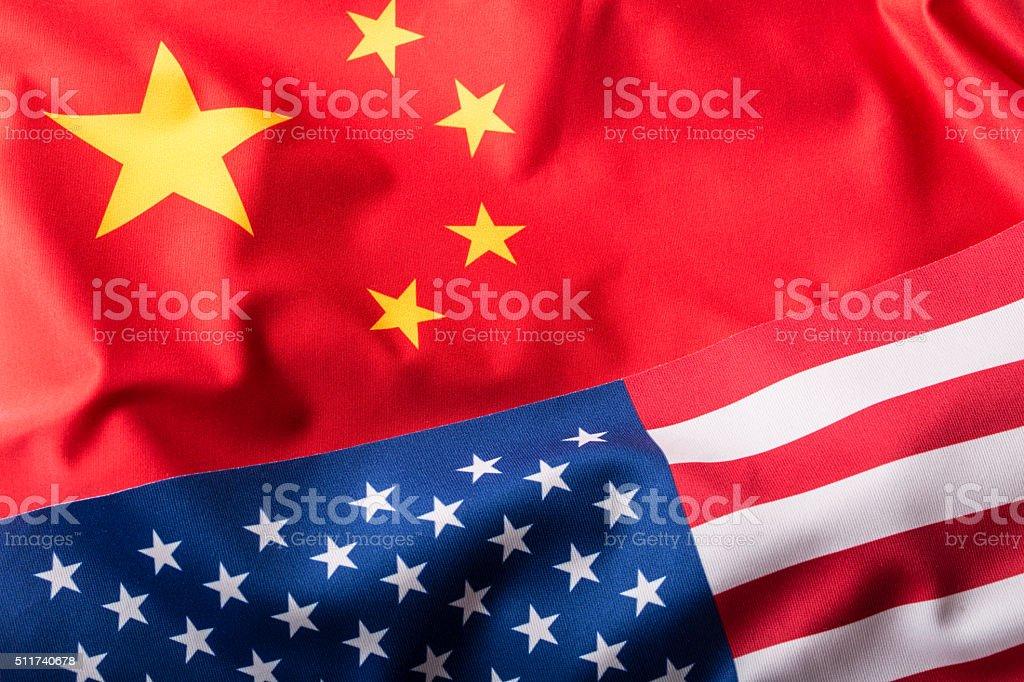 USA and China. Usa flag and china flag stock photo