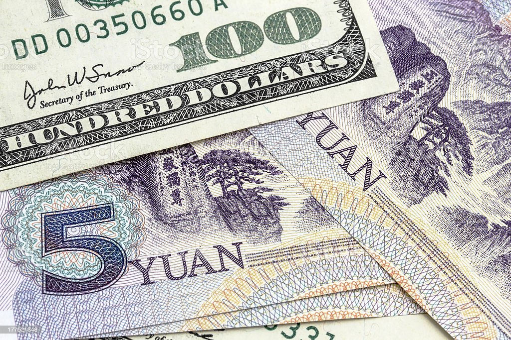 USD And Chinese Yuan stock photo