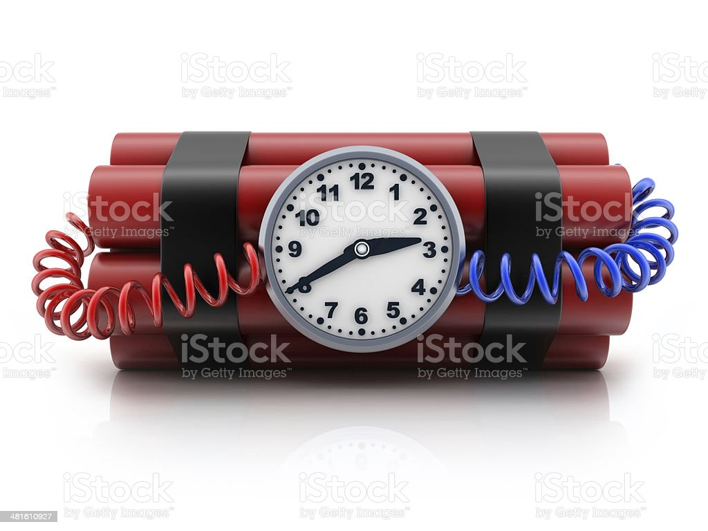 TNT and clock stock photo