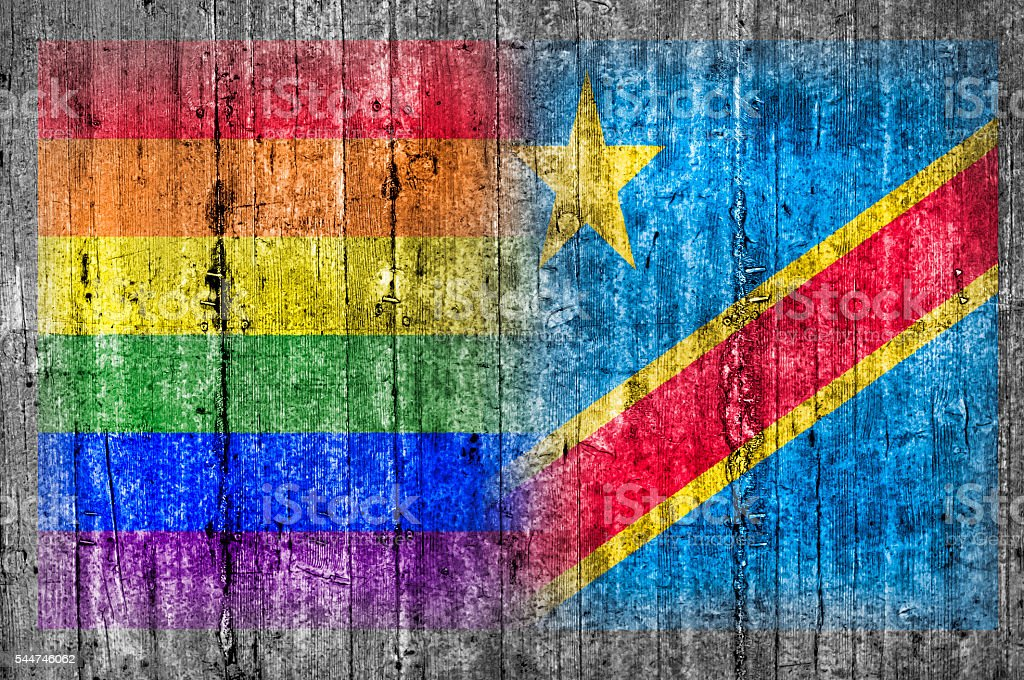 LGBT and Congo flag on concrete wall stock photo
