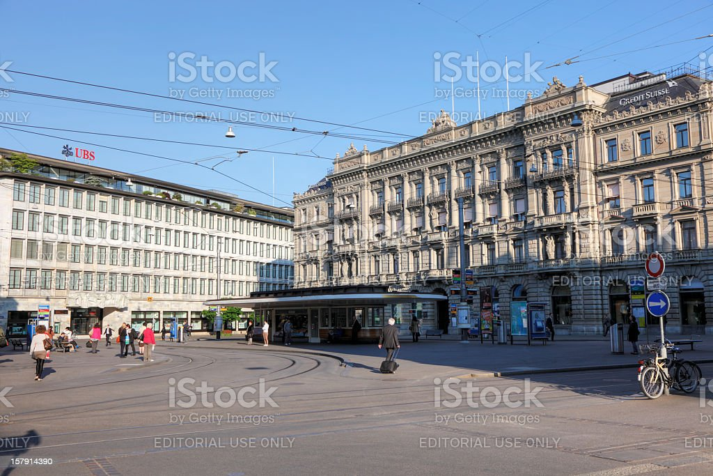 UBS and Credit Suisse at Paradeplatz stock photo
