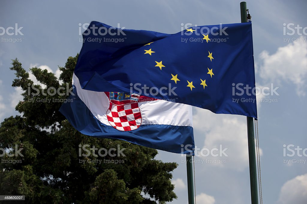 EU and Croatian flags royalty-free stock photo