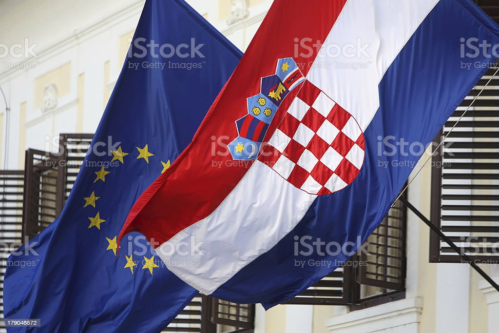 EU and Croatian flags together royalty-free stock photo