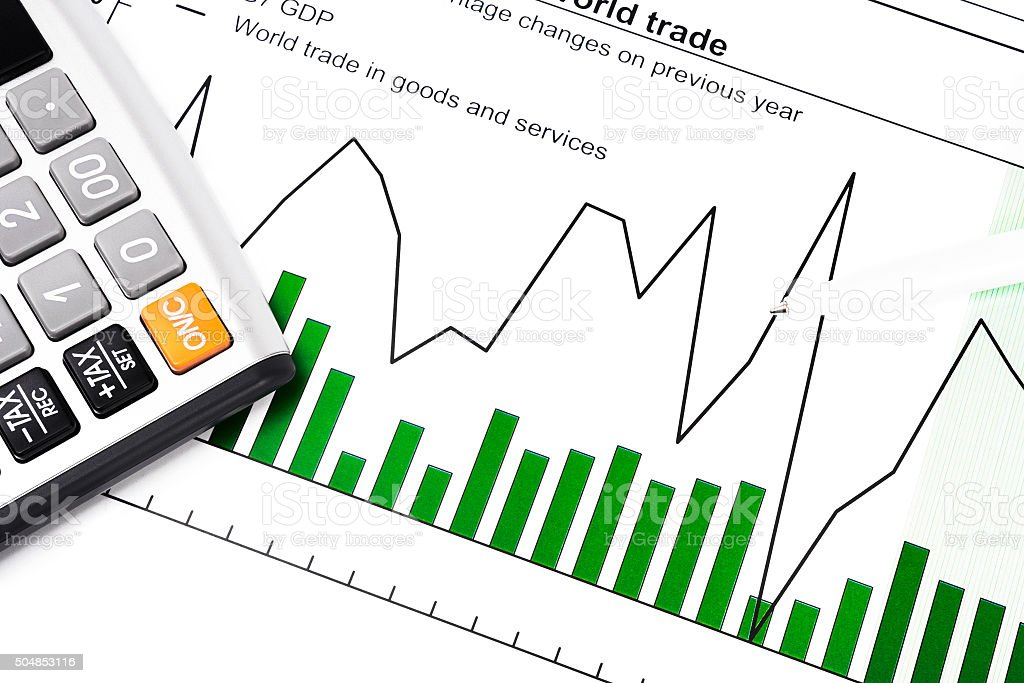 GDP and data report - chart, calculator and ball-pen stock photo