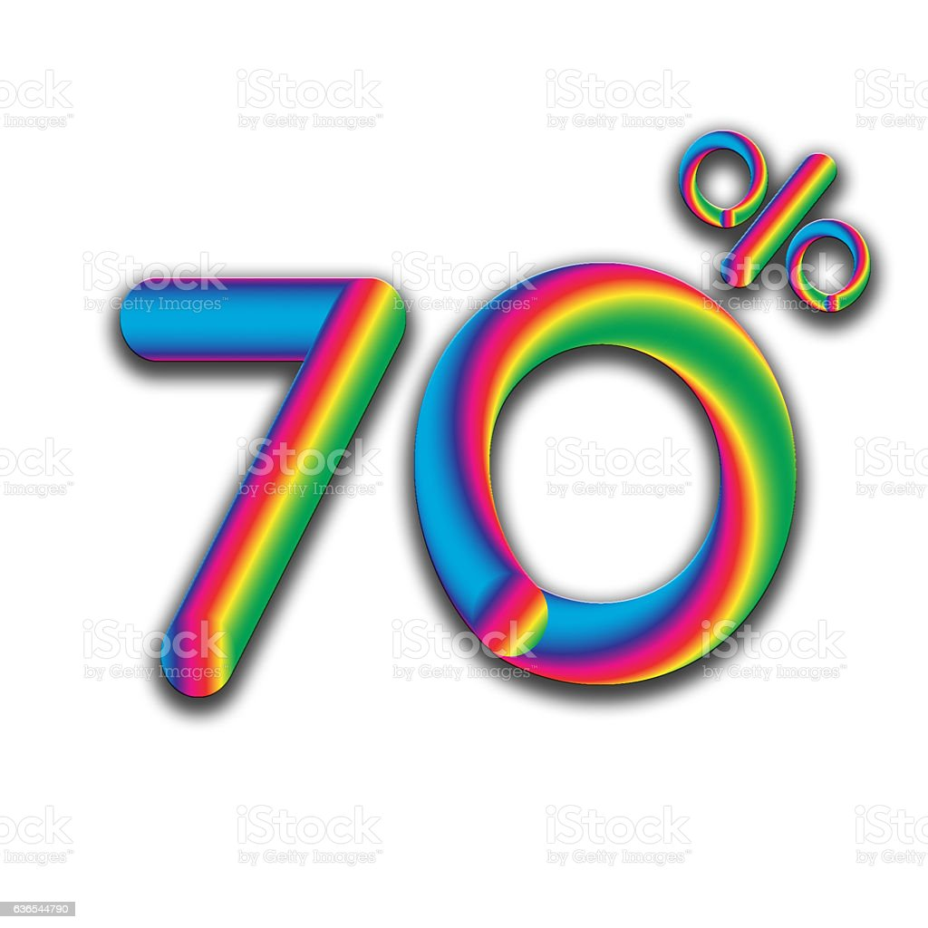70% and discount price sign or icon stock photo