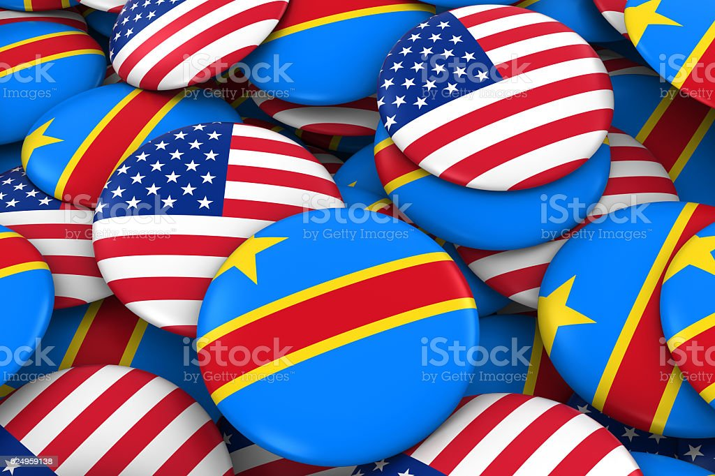 USA and DR Congo Flag Badges Background stock photo